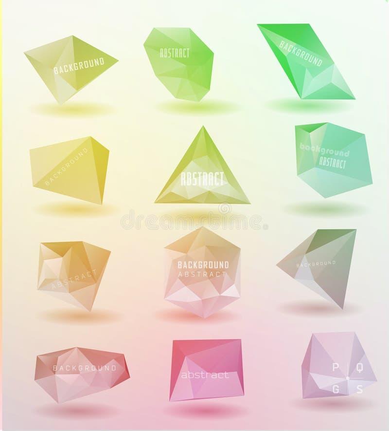 Abstracte moderne veelhoekige bel, etiketwebsite royalty-vrije illustratie