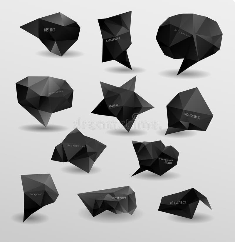 Abstracte moderne veelhoekige bel, etiketwebsite vector illustratie