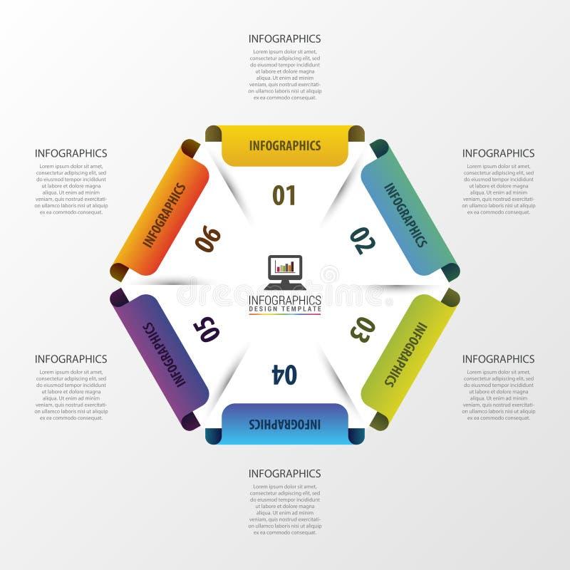 Abstracte moderne zeshoek Het malplaatje van het Infographicontwerp Vector illustratie stock illustratie