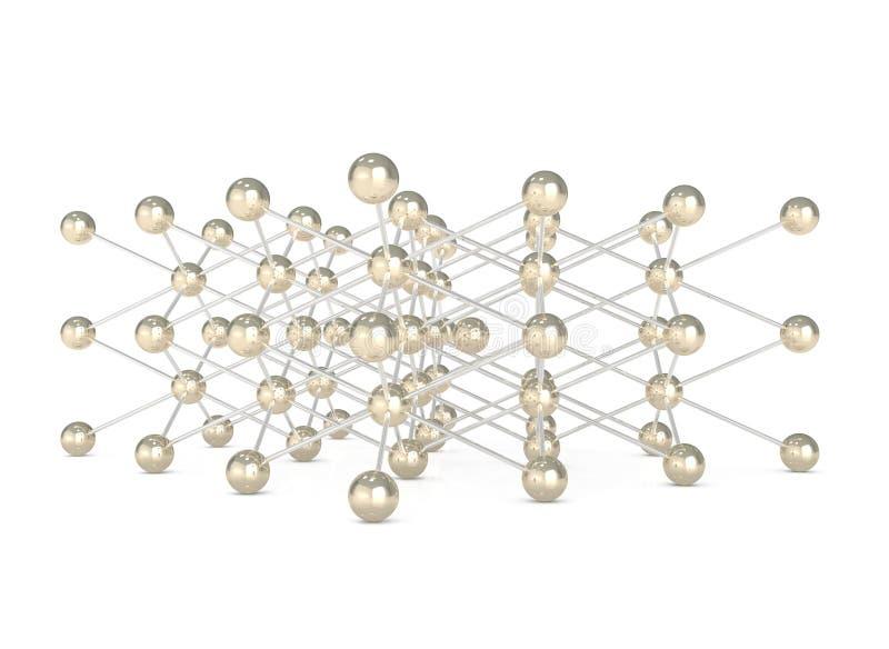 Abstracte Moleculaire Structuur die op wit wordt geïsoleerdm stock illustratie