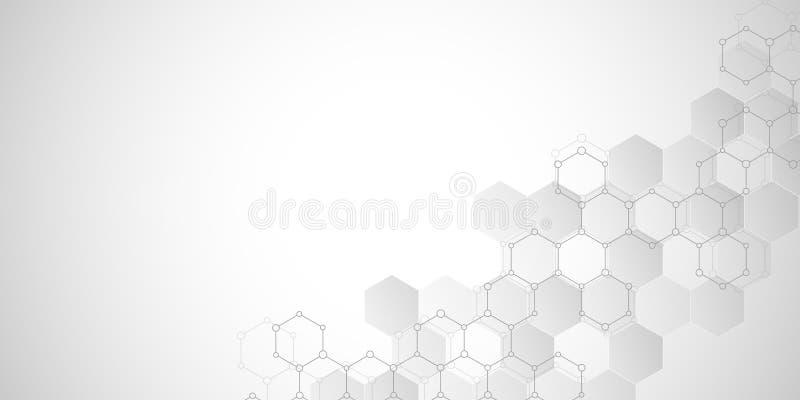 Abstracte moleculaire structuur en chemische elementen Medisch, wetenschap en digitaal technologieconcept Geometrische vector stock illustratie