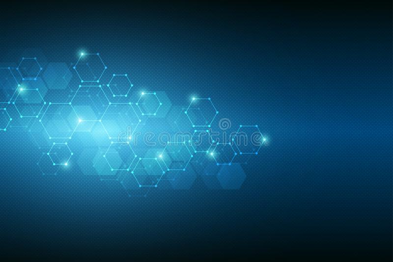 Abstracte moleculaire structuur en chemische elementen Medisch, wetenschaps en technologieconcept Geometrische achtergrond van stock illustratie