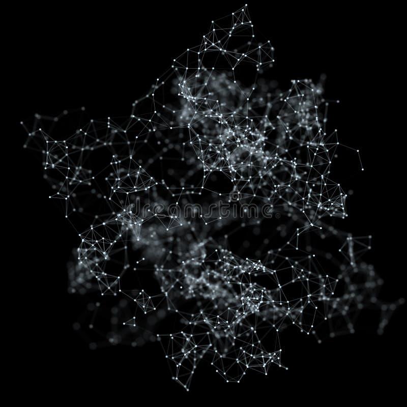 Abstracte moleculaire structuur op donkere achtergrond royalty-vrije illustratie
