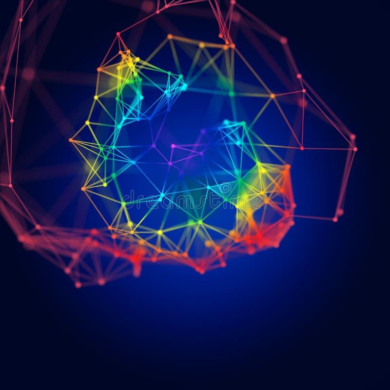 Abstracte moleculaire structuur op donkere achtergrond stock illustratie