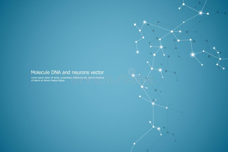 Abstracte moleculeachtergrond, genetische en chemische samenstellingen, medisch, technologie of wetenschappelijke conceptenvector royalty-vrije illustratie