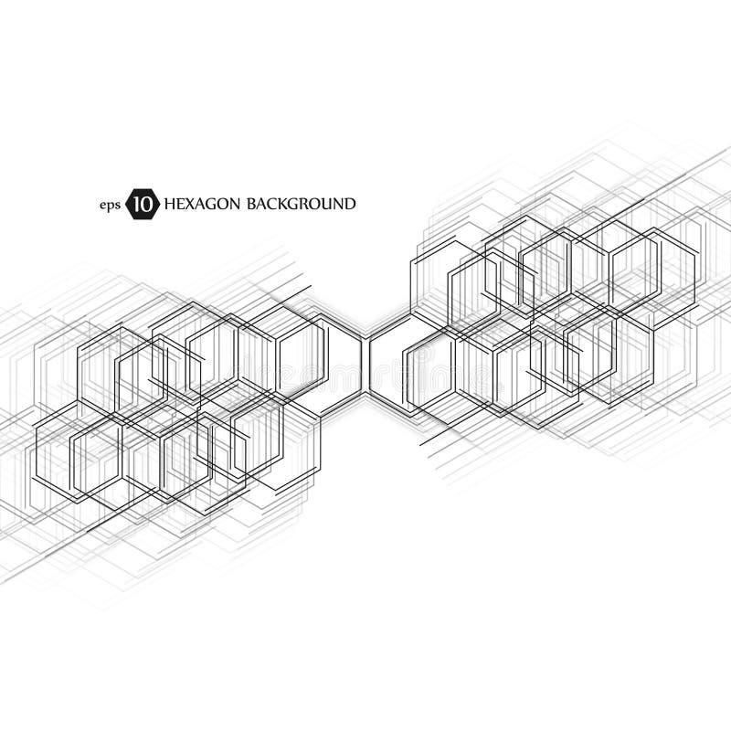 Abstracte moleculeachtergrond Hexagonaal chemiepatroon Moleculair wetenschappelijk onderzoek Samenstelling van moleculair royalty-vrije illustratie
