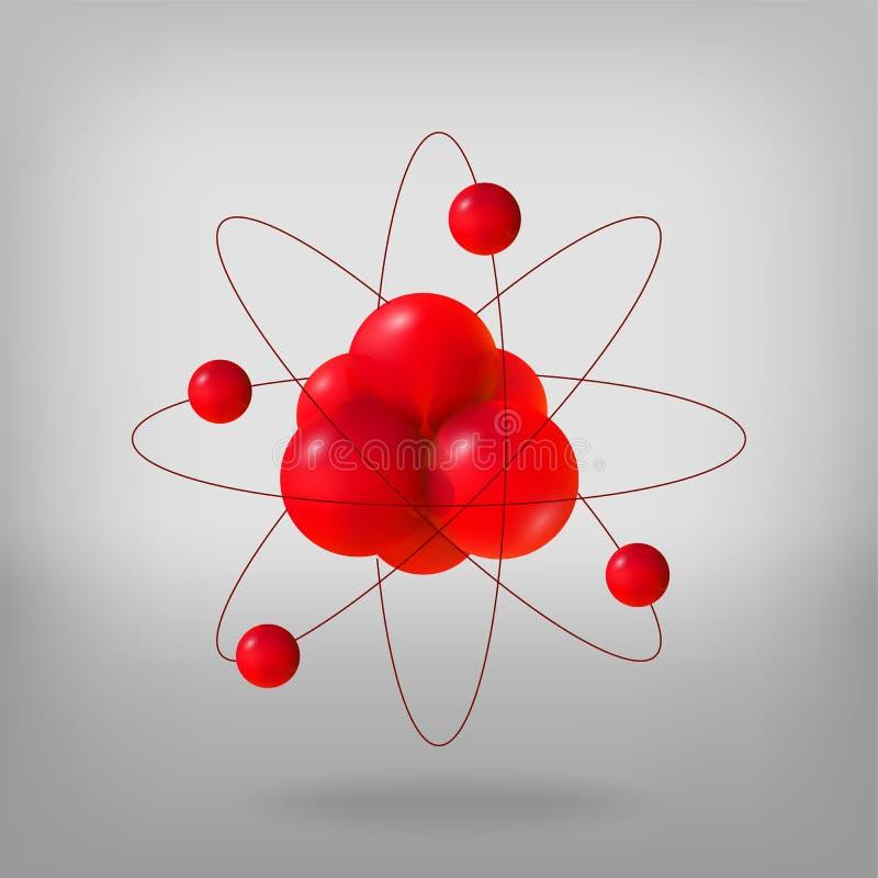 Abstracte molecules atomen 3d vectorneutronen en de elektronen van illustratieprotonen Retro laboratoriummateriaal en boeken dich royalty-vrije illustratie
