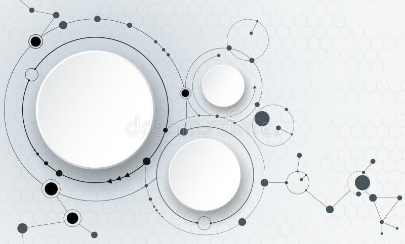 Abstracte molecules en mededeling - sociaal media technologieconcept stock illustratie