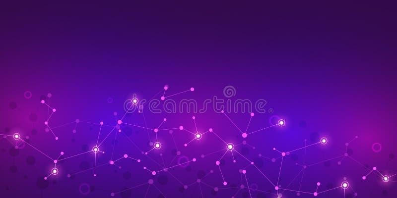 Abstracte molecules op purpere achtergrond Moleculaire structuren of DNA-bundel, neuraal netwerk, genetische biologie stock illustratie