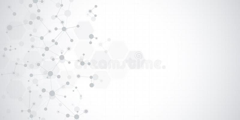 Abstracte molecules op zachte grijze achtergrond Moleculaire structuren of DNA-bundel, neuraal netwerk, genetische biologie royalty-vrije illustratie