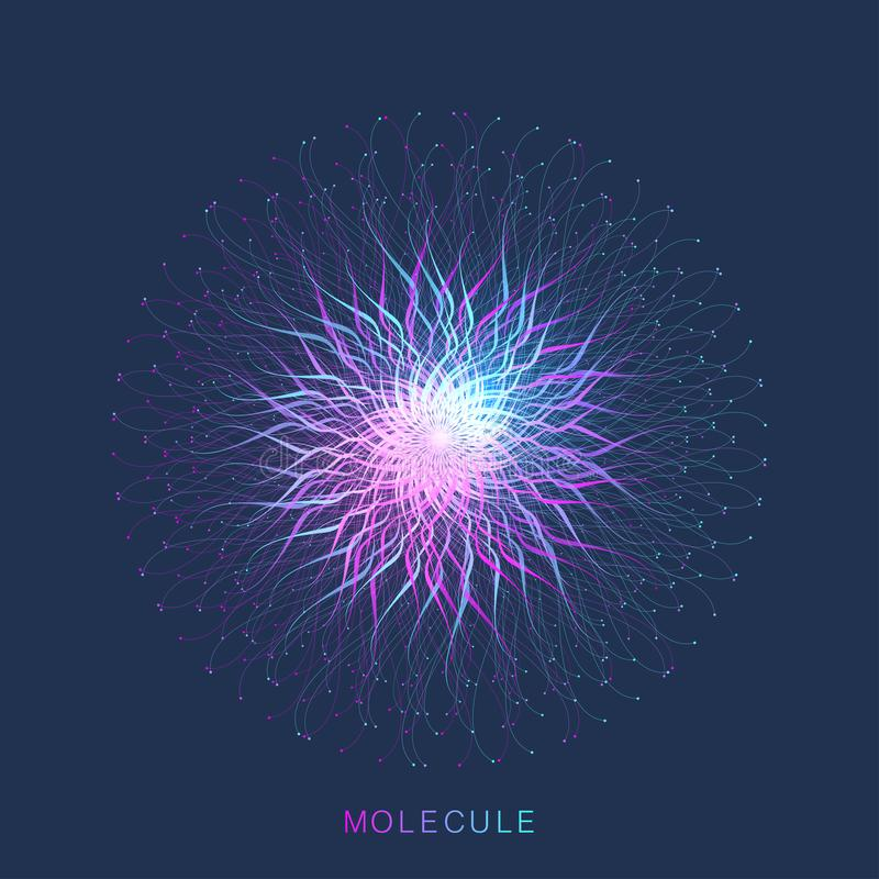 Abstracte moleculestructuur DNA-schroef, DNA-bundel, molecule of atoom, neuronen Moleculaire structuur voor wetenschap of royalty-vrije illustratie