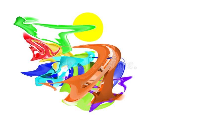 Abstracte multiacrylic samenstelling, neurographic tekeningsimitatie Veelkleurig Neuro kunst-ontwerp De vectorplonsen van de acht royalty-vrije illustratie