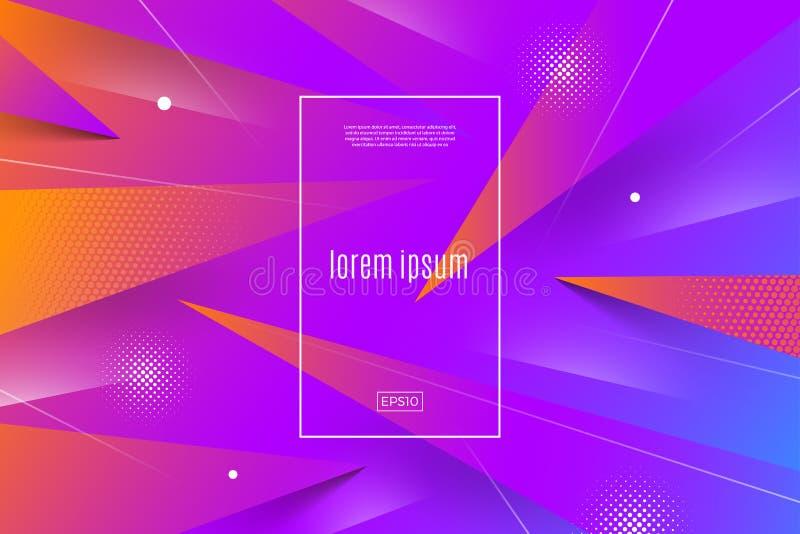 Abstracte multicolored achtergrond met dynamische geometrische vormen en lijnen Vector illustratie Multifunctioneel malplaatjeont royalty-vrije illustratie