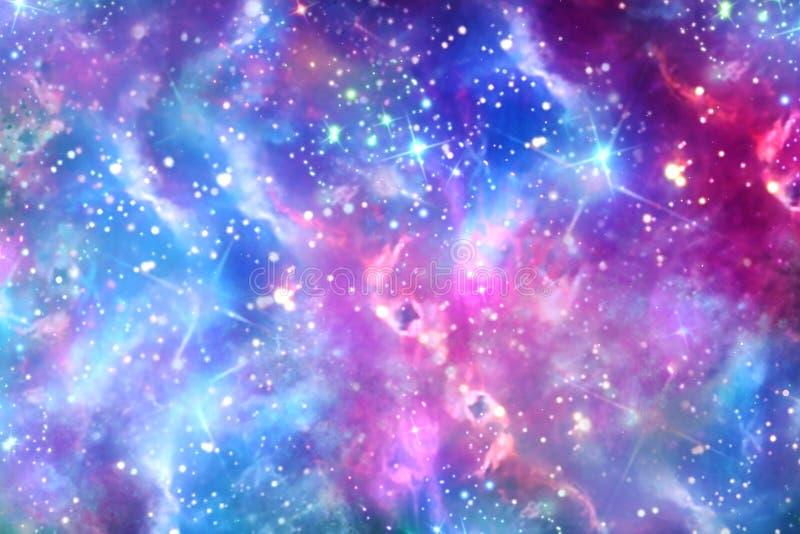 Abstracte Multicolored Gloeiende Melkweg op Ruimteachtergrond vector illustratie