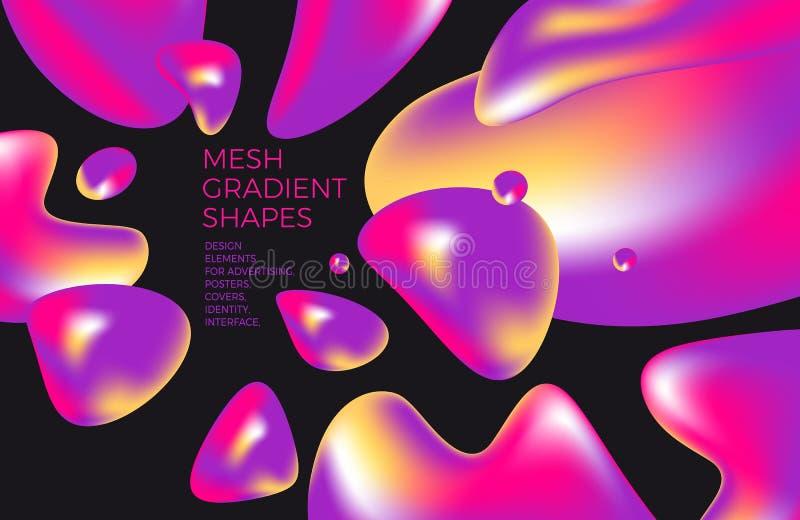 Abstracte multicolored holografische 3D achtergrond met cijfers en vormen voor websites, verpakking, affiche, aanplakbord, reclam royalty-vrije illustratie