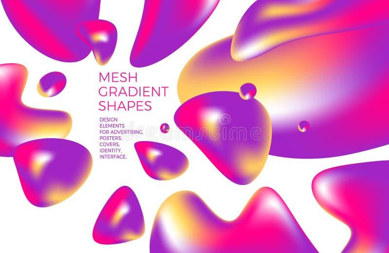 Abstracte multicolored holografische 3D achtergrond met cijfers en vormen voor websites, verpakking, affiche, aanplakbord, reclam vector illustratie