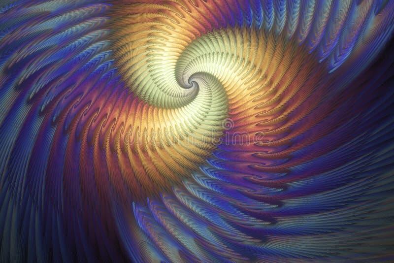 Abstracte multicolored psychedelische spiraal op diepe blauwe achtergrond vector illustratie
