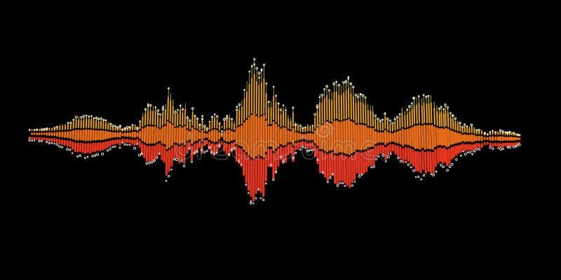 Abstracte muziek correcte golven als achtergrond voor equaliser Digitale wav royalty-vrije illustratie