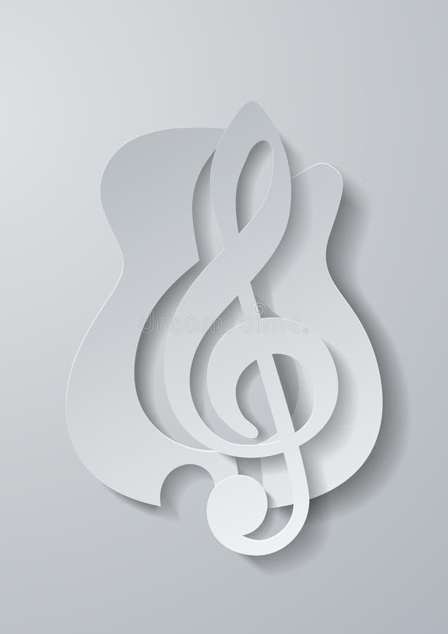 Abstracte Muziek G-sleutel van Gitaar Witboek wordt gesneden Backgrou die royalty-vrije illustratie