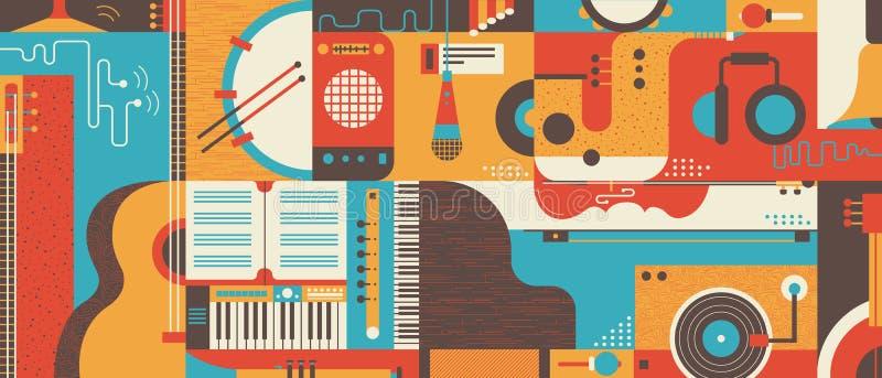 Abstracte Muziek vlakke vectorillustratie Als achtergrond royalty-vrije illustratie