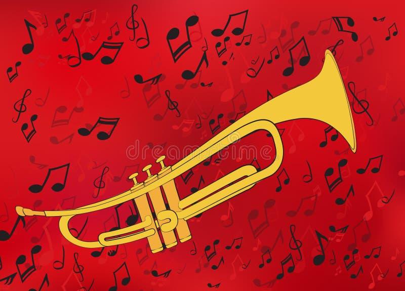Abstracte muziekachtergrond met een gouden trompet vector illustratie