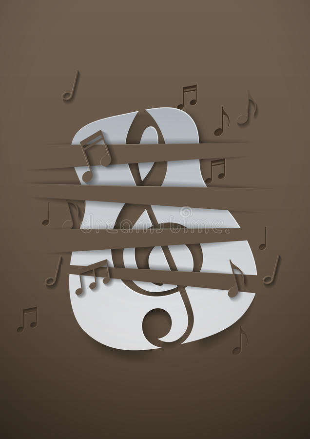 Abstracte Muziekachtergrond met Gesneden Document Gitaar en Muzieknota's royalty-vrije illustratie