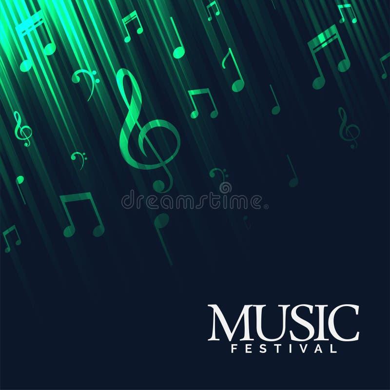 Abstracte muziekachtergrond met groene neonlichten royalty-vrije illustratie