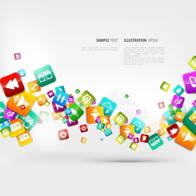 Abstracte muziekachtergrond met nota's en app pictogrammen stock illustratie