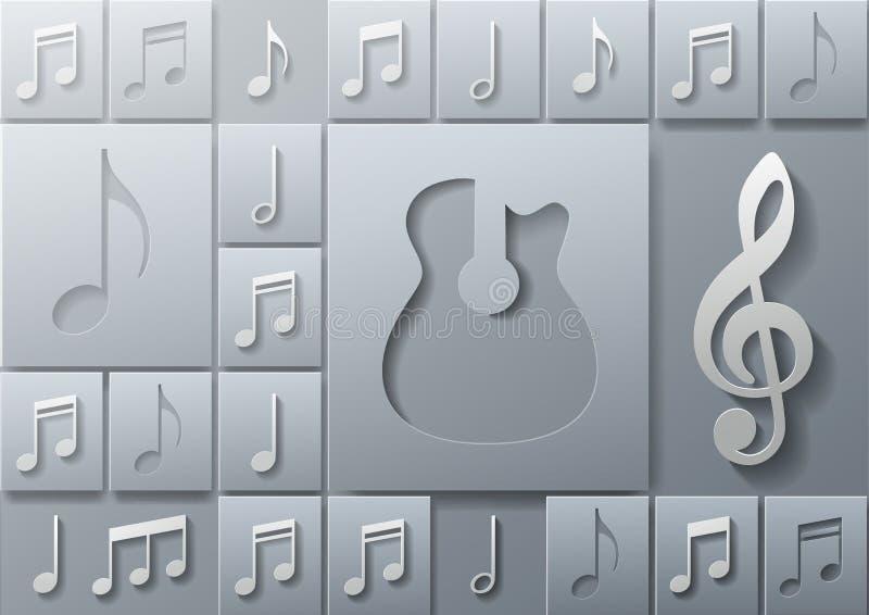 Abstracte Muziekgitaar met het Malplaatje van het Nota'sontwerp stock illustratie