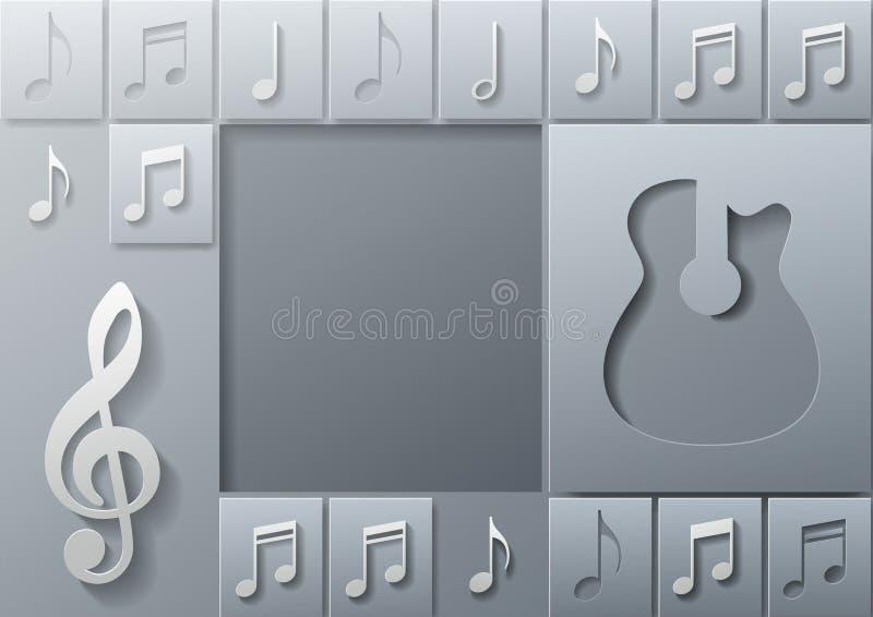 Abstracte Muziekgitaar met het Malplaatje van het Nota'sontwerp royalty-vrije illustratie