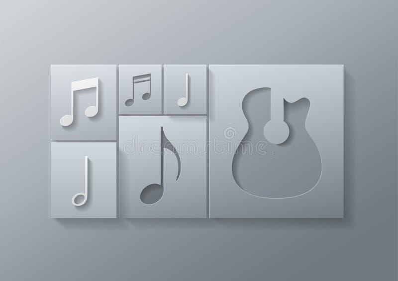 Abstracte Muziekgitaar met het Malplaatje van het Nota'sontwerp vector illustratie