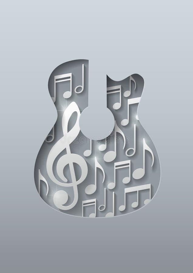 Abstracte Muziekgitaar met Nota'sachtergrond royalty-vrije illustratie