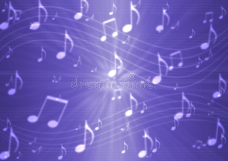 Abstracte Muzieknota's en Staven op Purpere Achtergrond vector illustratie