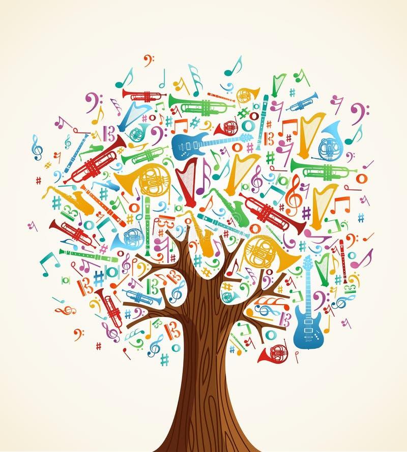 Abstracte muzikale boom die met instrumenten wordt gemaakt vector illustratie