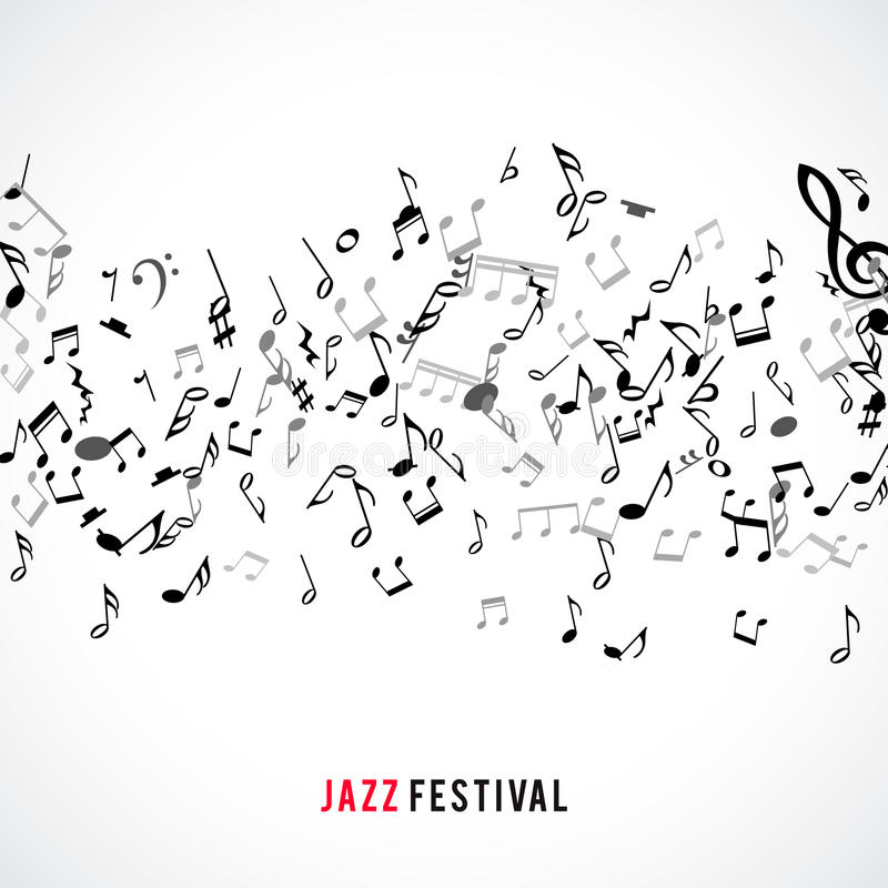 Abstracte muzikale kader en grens met zwarte nota's over witte achtergrond stock illustratie