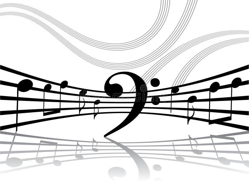Abstracte muzikale lijnen met nota's royalty-vrije illustratie
