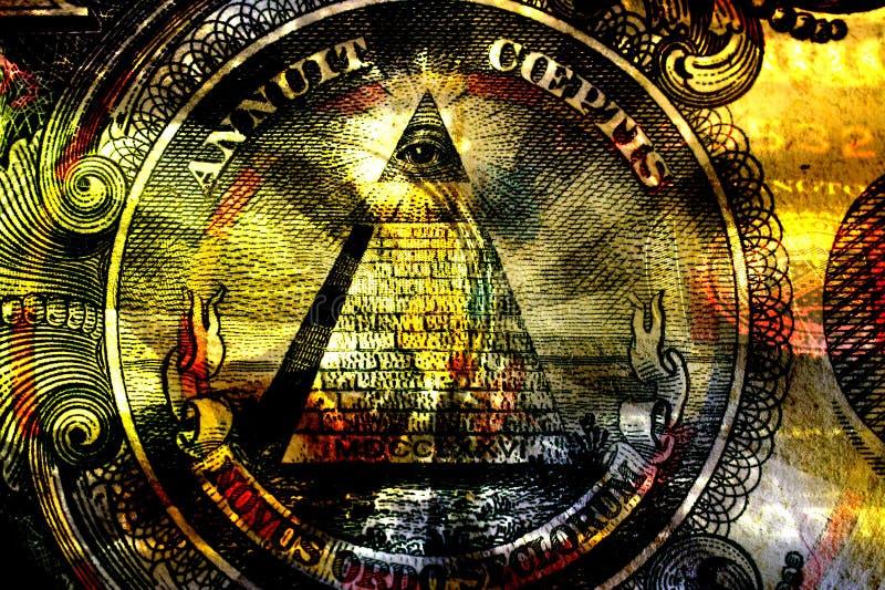 Abstracte mystieke achtergrond met Vrijmetselaars- symbolen royalty-vrije illustratie