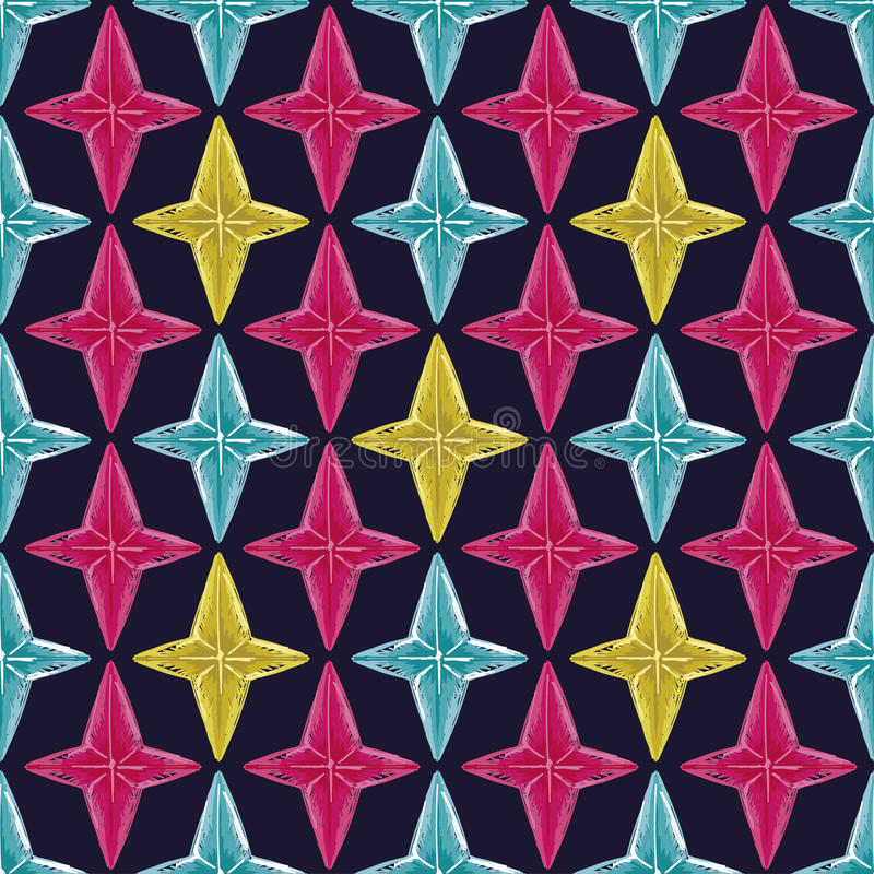 Abstracte naadloze achtergrond met de sterren van de schetsstijl royalty-vrije illustratie