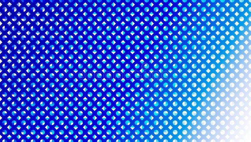 Abstracte Naadloze Blauwe Diamanten en Cirkels op de Blauwe Achtergrond van Gradated stock illustratie