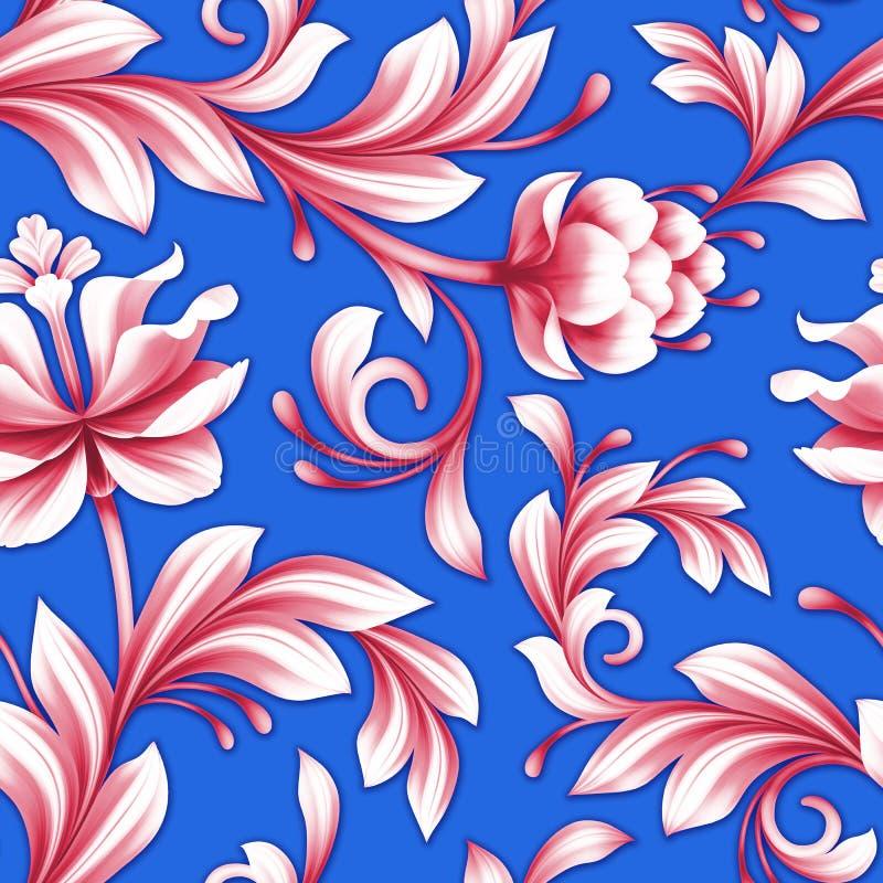 Abstracte naadloze bloemenpatroon, rood en koningsblauwenbloemenachtergrond stock illustratie