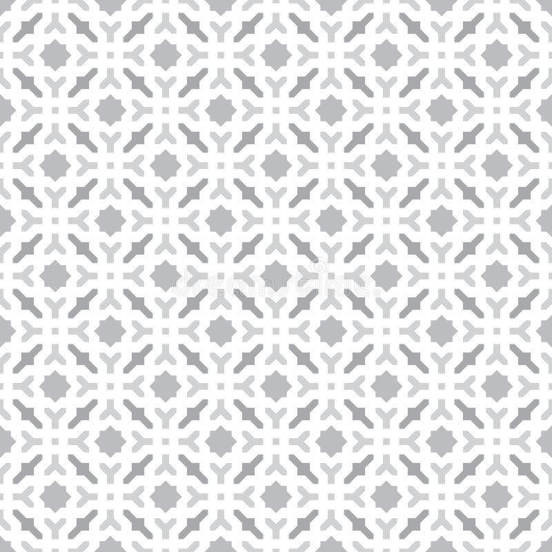 Abstracte Naadloze Decoratieve Geometrische Lichtgrijze & Witte Patroonachtergrond stock illustratie