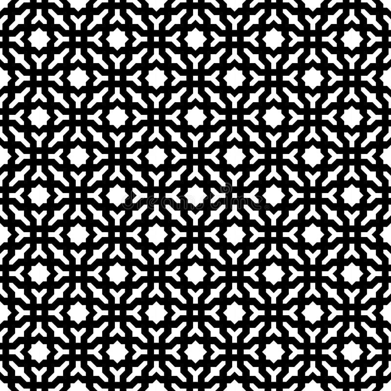 Abstracte Naadloze Decoratieve Geometrische Zwarte & Witte Patroonachtergrond royalty-vrije illustratie