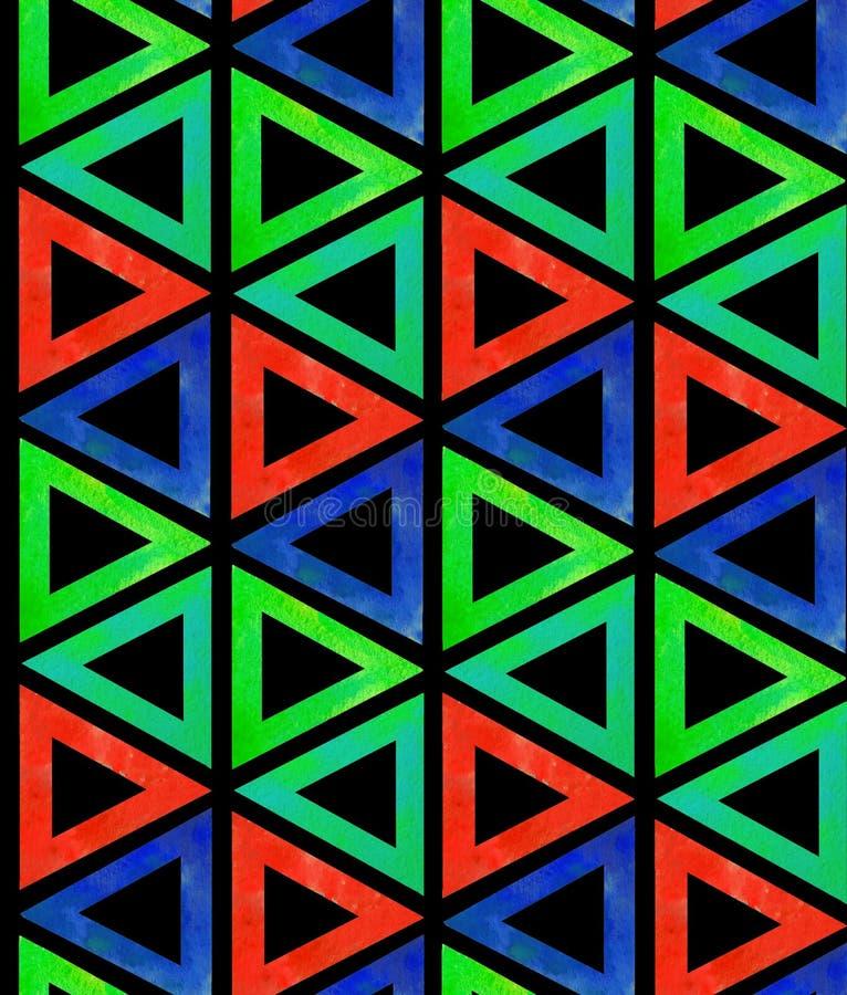 Abstracte naadloze donkere patroontegel van multicolored rode blauwgroene driehoeken op een zwarte achtergrond Achtergrond sier a stock illustratie