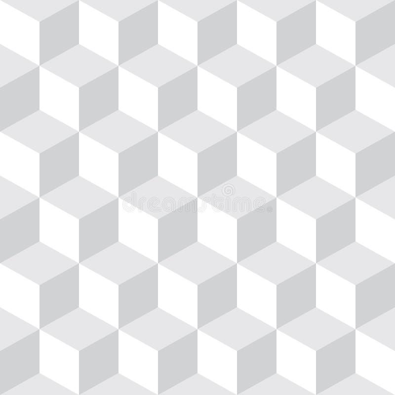 Abstracte Naadloze Geruite Lichtgrijze & Witte het Patroonachtergrond van het Kubusblok royalty-vrije illustratie