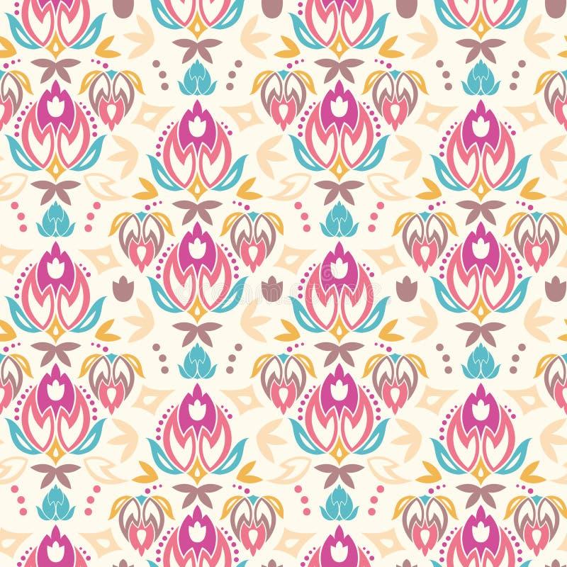 Abstracte naadloze het patroonachtergrond van damasttulpen vector illustratie