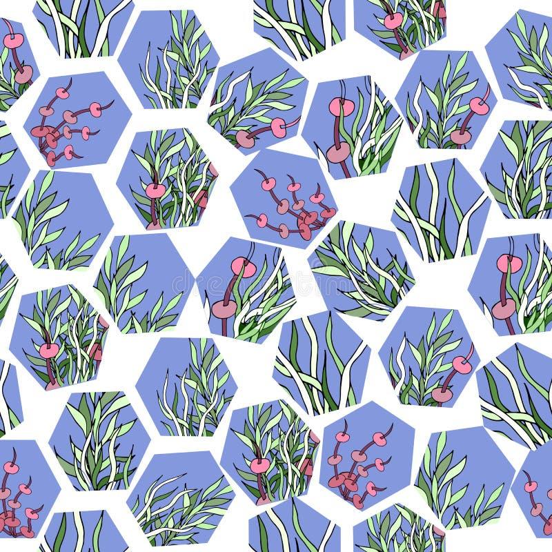 Abstracte naadloze patern Geometrische vormen op wit met bloemenornamenten Het kan voor prestaties van het ontwerpwerk noodzakeli vector illustratie