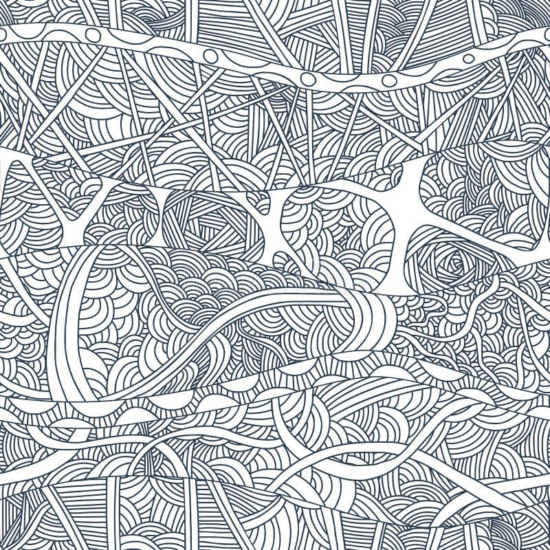 Abstracte naadloze patronen met hand-drawn krabbelgolven en lijnen vector illustratie