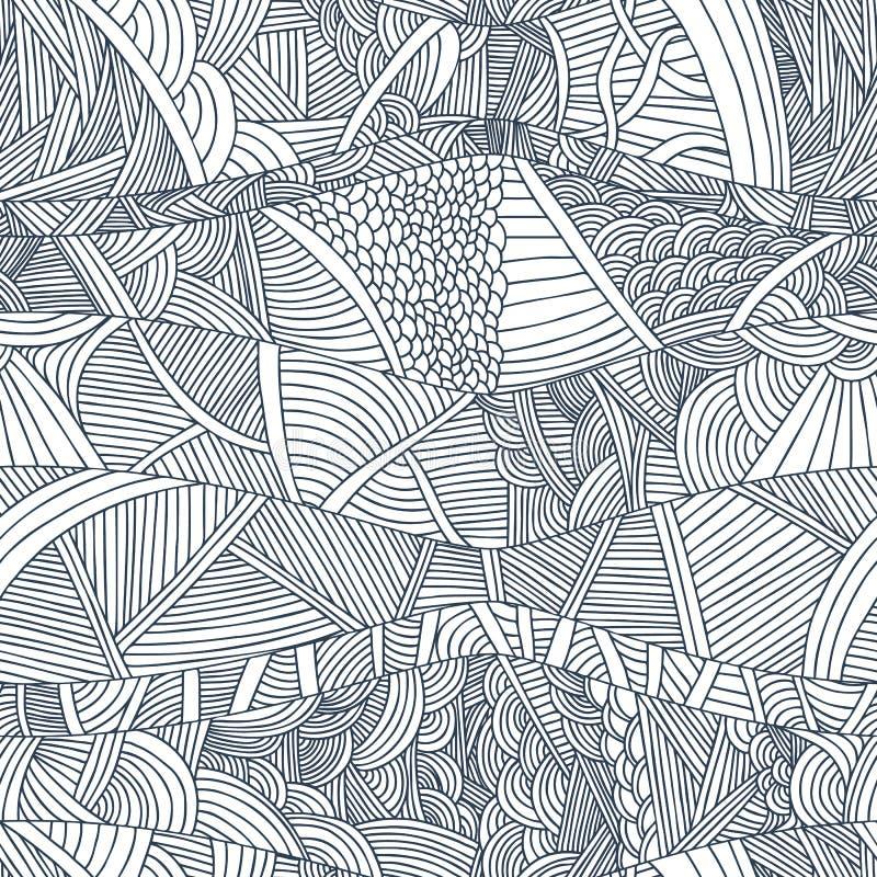 Abstracte naadloze patronen met hand-drawn krabbelgolven en lijnen royalty-vrije illustratie
