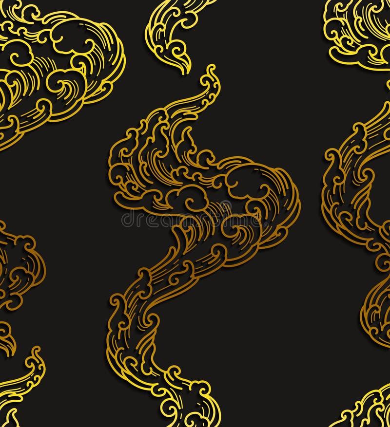 Abstracte naadloze patroon oosterse lijn stock illustratie