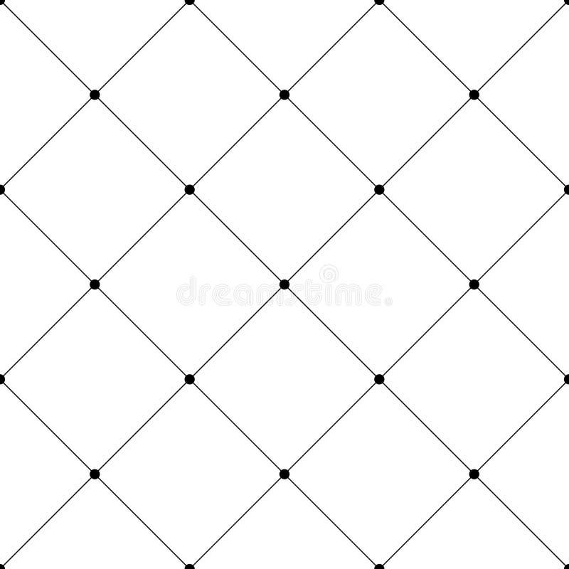 Abstracte naadloze patroonachtergrond Regelmatig diagonaal net van stevige lijnen met punten in de dwarspunten Vector stock illustratie